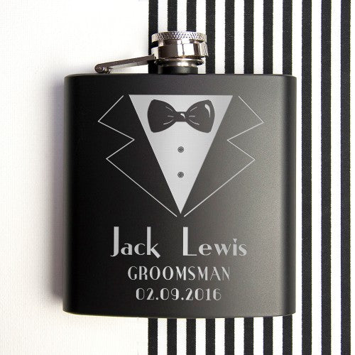 black tie design hipflask with groomsman name personalised
