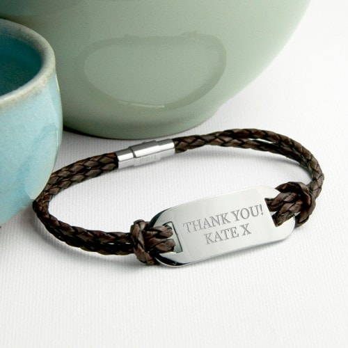 mens brown leather dog tag style bracelet with inscription