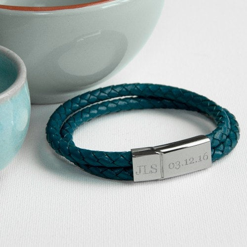 mens teal dual leather bracelet with engraved chrome clasp