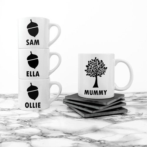 set of four mugs with oak tree for mummy and acorn for children
