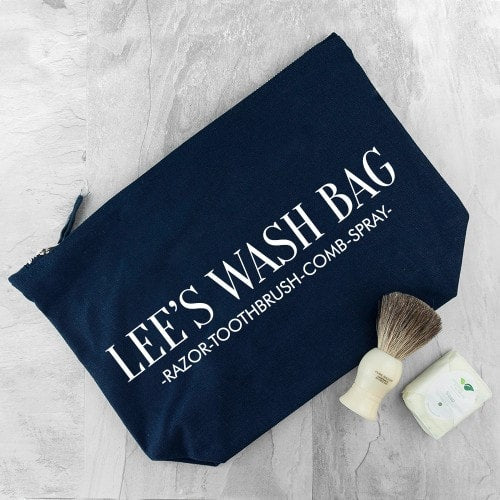 navy cotton wash bag with personalisation and message