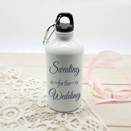 white waterbottle with sweating for the wedding etched
