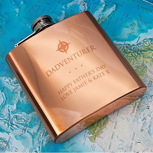 Copper Hipflask with message for dad engraved
