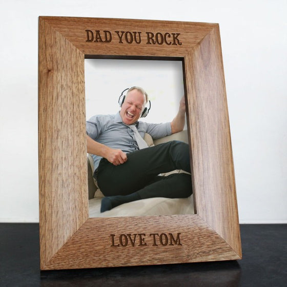 wooden personalised photo frame with 'Dad you rock' etched