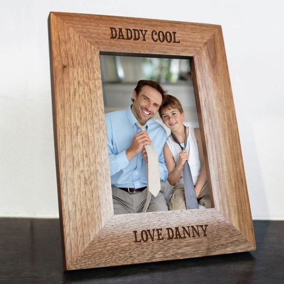 wooden personalised photo frame with Daddy cool etched