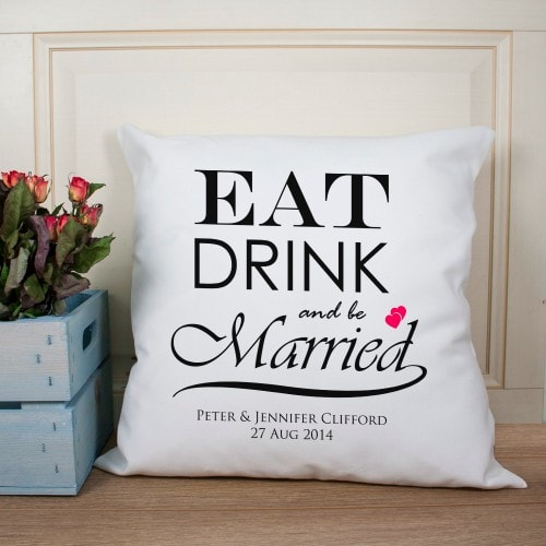 personalised cushion with eat drink married in centre