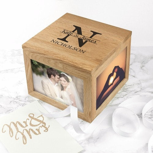wooden personalised monogram keepsake box