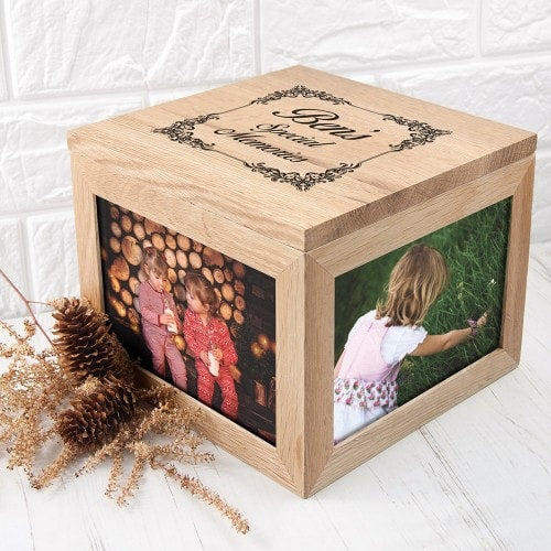 personalised keepsake with etched lid and photos on side