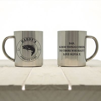 fishing mug front and back etched with daddy's and message