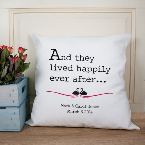 fairytale ending personalised cushion cover for couple