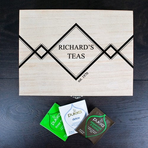 Arial view of Top of wooden tea box with personalisation and three unopened tea bags