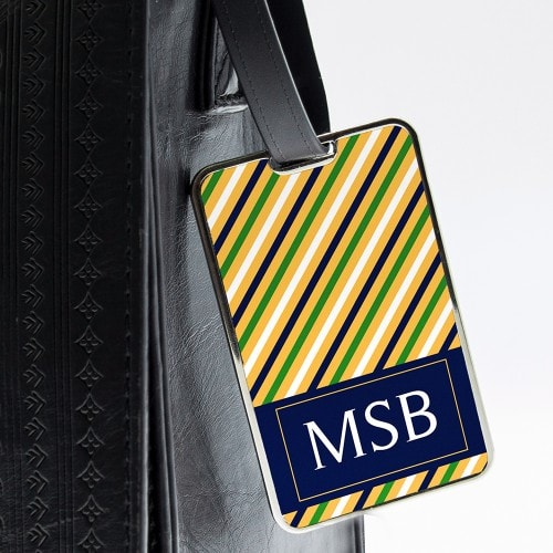 personalised luggage tag in narrow stripes yellow and green