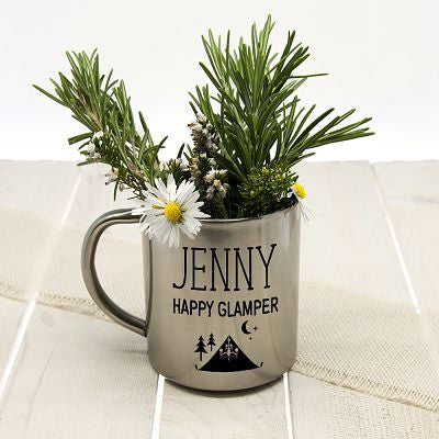 silver mug with handle displaying happy glamper and herb display