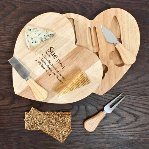 heart shaped cheeseboard with integrated heart shaped knife compartment. Displaying the name of the recipient and 3 qualities.
