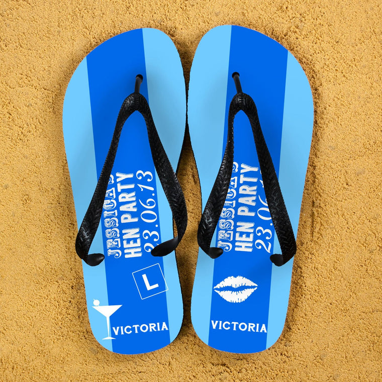 Two tone blue striped flip flops with black straps and lips and L plate design.
