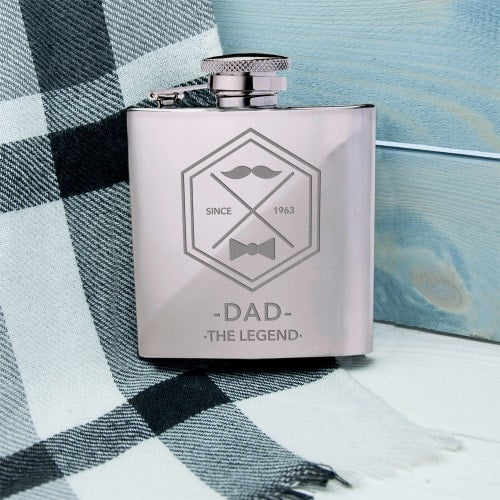 silver hip flask dad legend