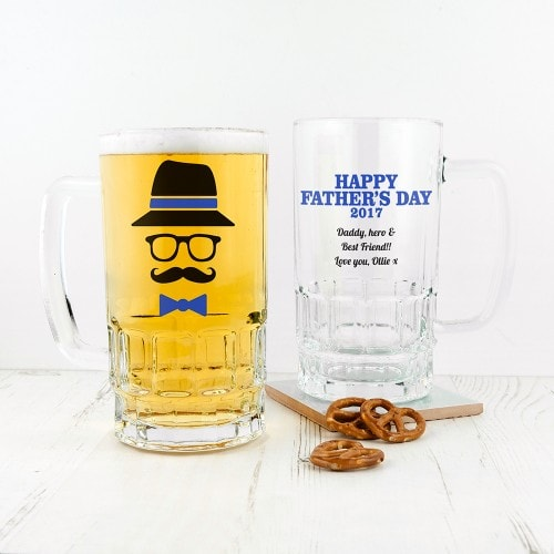 Hipster design beer tankard in blue