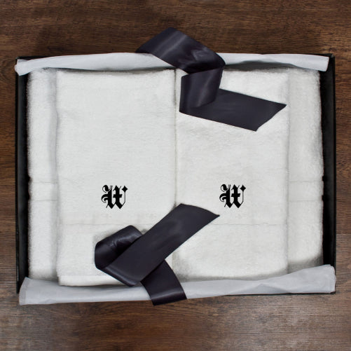 white cotton bath towels for him and her with initials