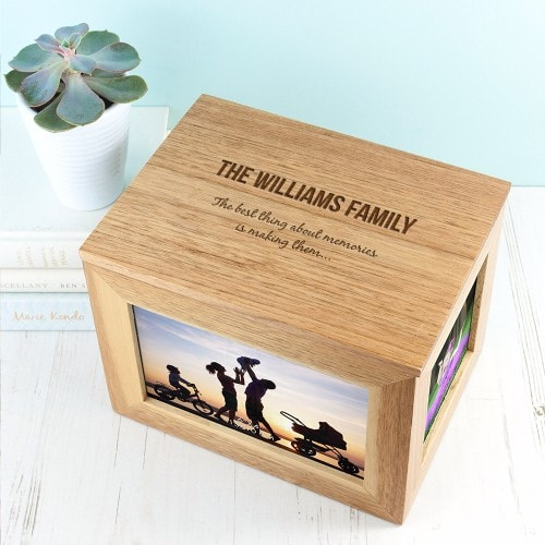 family keepsake box with engraving and photos