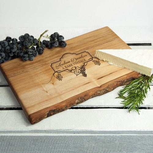 large personalised rustic cheeseboard with engraving