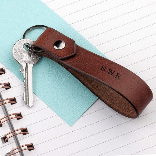brown leather loop keyring with 3 initials