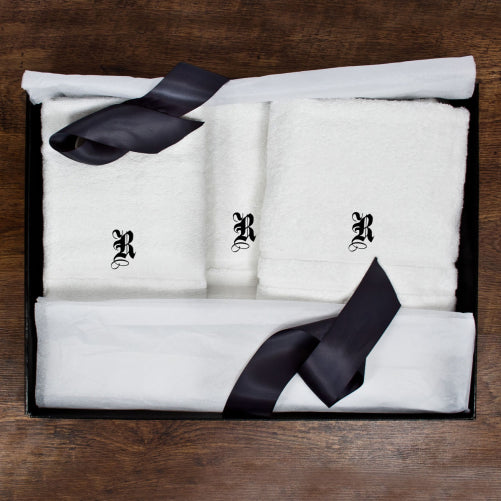 White towel set with personalised medieval initials