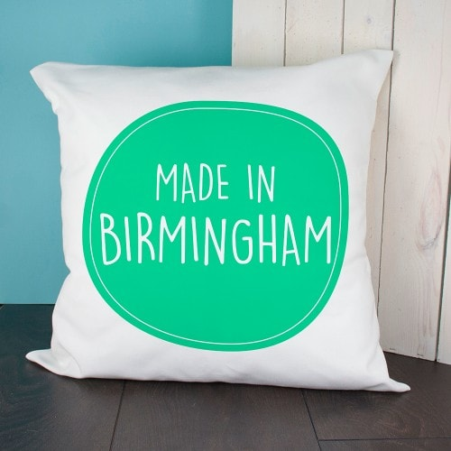 personalised cushion cover with green made in Birmingham emblem