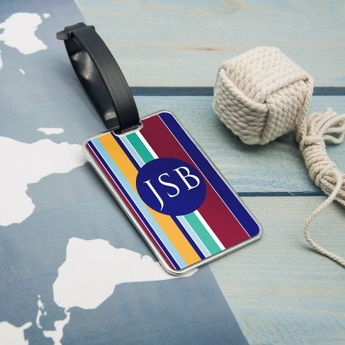 personalised blue and maroon striped luggage tag