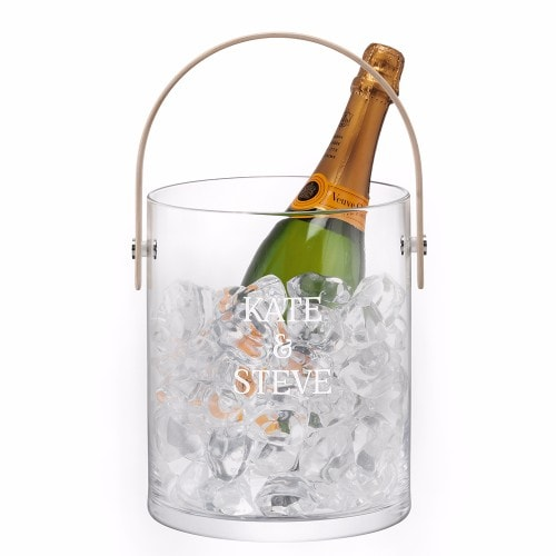personalised ash handled glass ice bucket with display champagne
