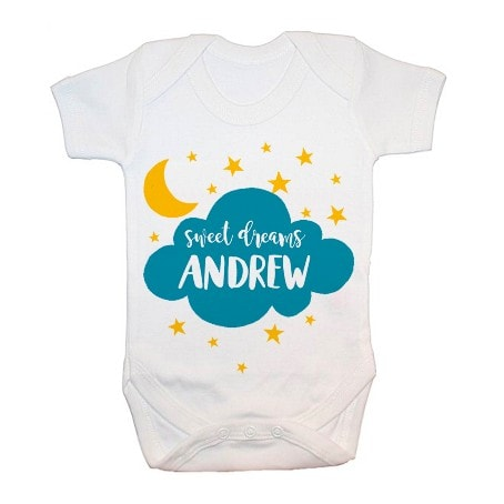 personalised babygrow with Andrew sweet dreams