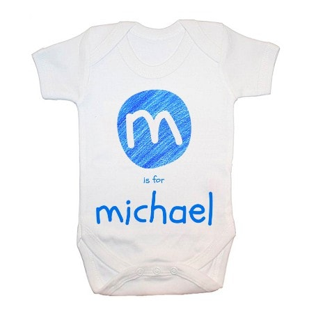 personalised blue initial babygrow