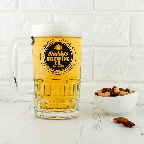 full beer tankard with daddy's brewing company logo
