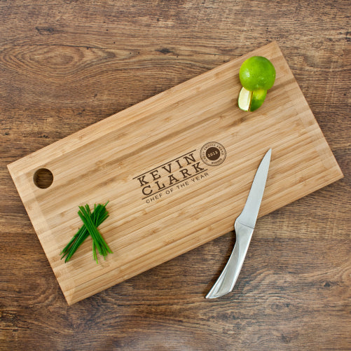 personalised bamboo chopping board chef