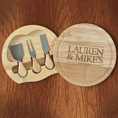 cheeseboard with couple name and knife set