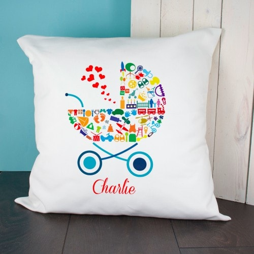 cushion cover with pram design and childs name