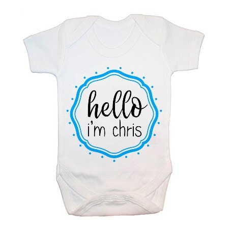 Babygrow with Hello I'm Chris in a blue emblem