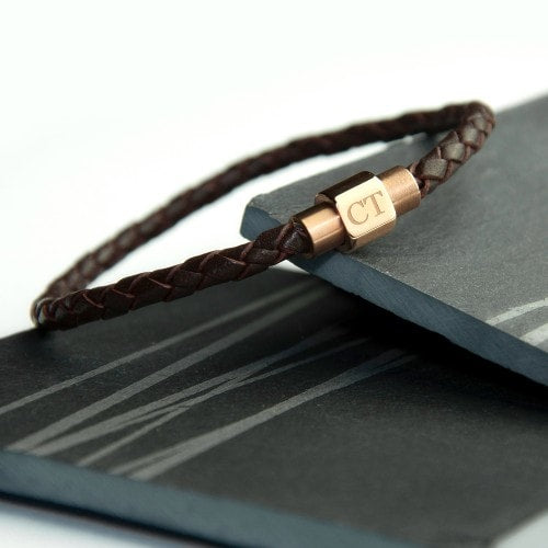 mens woven leather bracelet with gold clasp and initial