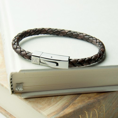 mens woven brown leather bracelet with chrome tube clasp initials