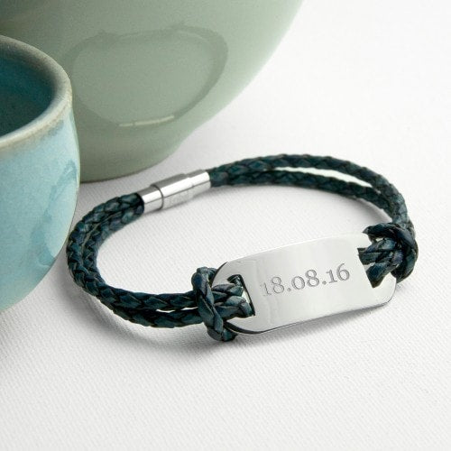 navy statement mens leather bracelet with date inscribed