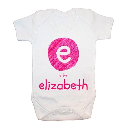 personalised babygrow with pink initial E