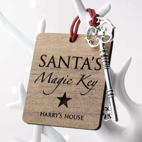 key and key ring holder with santa secret key and childs name