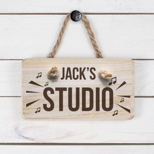 wooden personalised sign with rope hanger and jacks studio