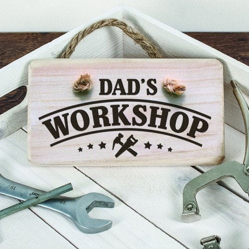 wooden sign with dad workshop personalised