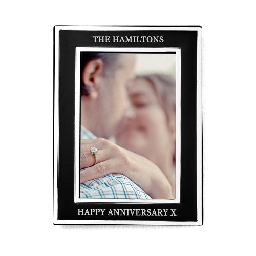 silverblack photoframe with personalisation for anniversary