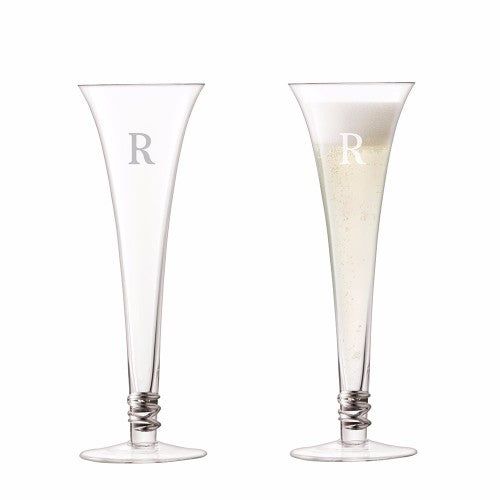 dispaly of two prosecco glasses, full and empty with one initial on each glass