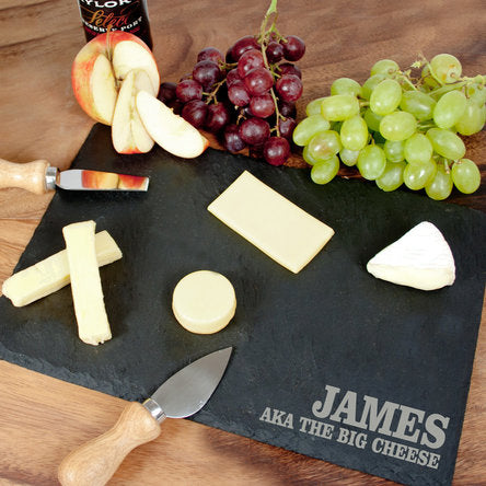 personalised square slate cheeseboard