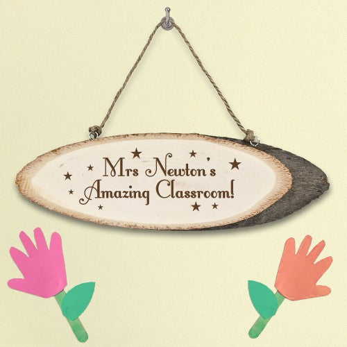 personalised wooden teacher sign with rope hanger for classroom