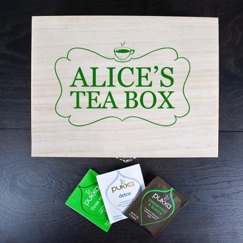 personalised teabox with large green framed name on the front
