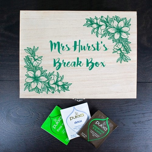 personalised wooden tea box with floral design and teachers name