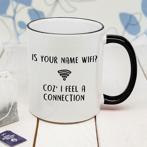 white mug with black rim and handle with wifi message